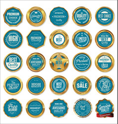 quality gold and blue labels vector image