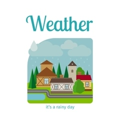 Rainy weather in town vector