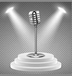 realistic microphone white podium for stage and vector image