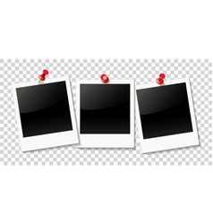 realistic photo frame on red push pin vector image