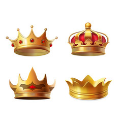 realistic royal crown icon set vector image