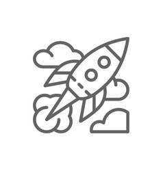 rocket startup line icon vector image