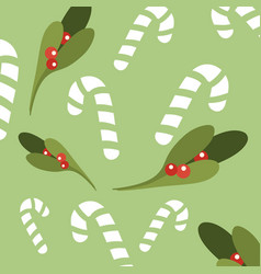 romantic christmas pattern sweetmeats green vector image