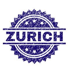 Scratched textured zurich stamp seal vector