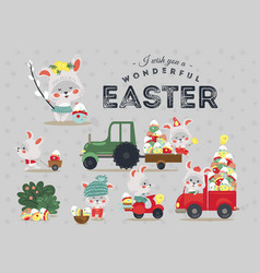Set of easter bunny drive car with truck vector