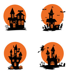 Set of ghost houses halloween theme design vector
