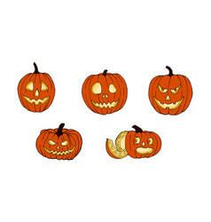 set of pumpkins for halloween funny faces autumn vector image