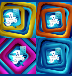 Set of rotating swirl square backgrounds color vector