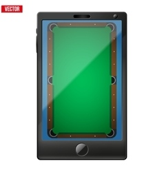 Smartphone with a billiard field on the screen vector