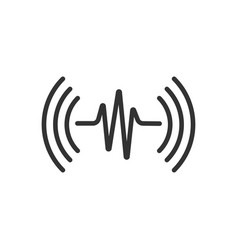Sound wave icon in flat style heart beat on white vector
