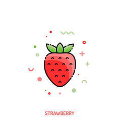 strawberry linear icon vector image
