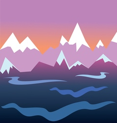 sunset in the mountains vector image
