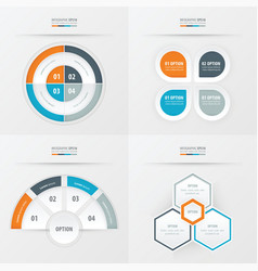 Template design 4 item orange blue gray color vector
