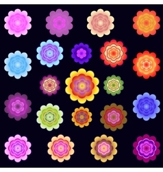 Templates of bright colored stylized flowers vector