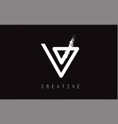 V monogram letter logo design brush paint stroke vector