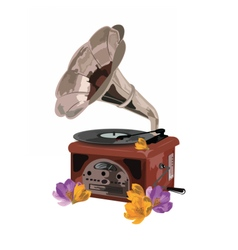 Vintage Retro gramophone and flowers vector