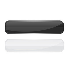 Web buttons black and white shiny rectangle icons vector