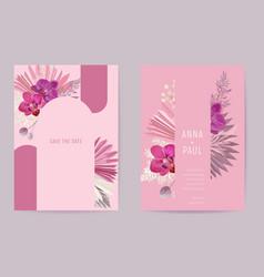 Wedding watercolor floral card dry tropic vector