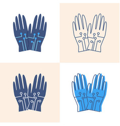 wired gloves icon set in flat and line style vector image