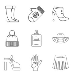 Womanlike icons set outline style vector