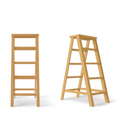 wooden stepladder tall stair with stand for tray vector image