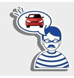 burglar criminal car icon vector image