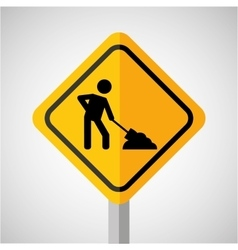 under construction road sign worker vector image vector image