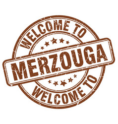 welcome to merzouga brown round vintage stamp vector image