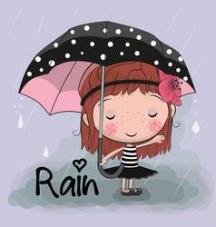 cute cartoon girl girl with an umbrella vector image vector image