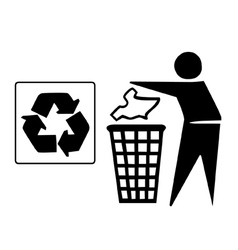 Recyle bin graphic vector image