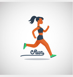 running girl character with ponytail hairstyle vector image