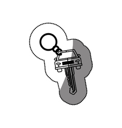 Silhouette dotted sticker with car keychain vector