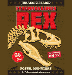 Vintage jurassic park poster with fossil vector