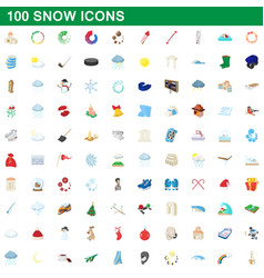 100 snow icons set cartoon style vector image vector image