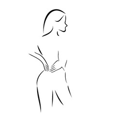 Abstract drawing of a woman massaging her back vector image