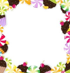 Cupcake Candy Frame vector image