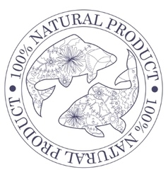 Natural product stamp with fish vector image