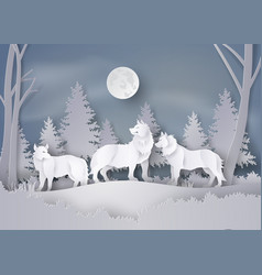 wolf in forest with snow and fullmoon vector image