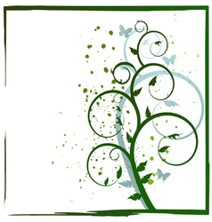 Abstract plant and butterflies vector image vector image
