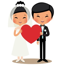 Chinese couple bride and groom vector image vector image
