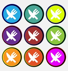 Eat cutlery icon sign nine multi-colored round vector