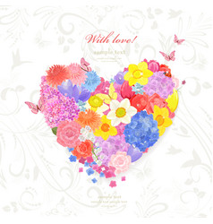 floral valentine from different spring flowers vector image