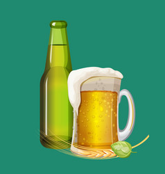 green beer bottle and frothy drink in glass mug vector image