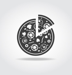 Pizza piece Black Icon vector image