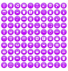100 box icons set purple vector