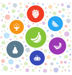 7 fruit icons vector