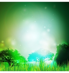 Abstract background with grass and silhouettes of vector image