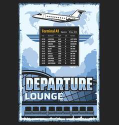 airport departure lounge flights schedule vector image