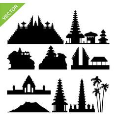 Bali indonesia landmark silhouettes vector