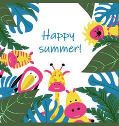 banner or card for summer party tropical leaves a vector image